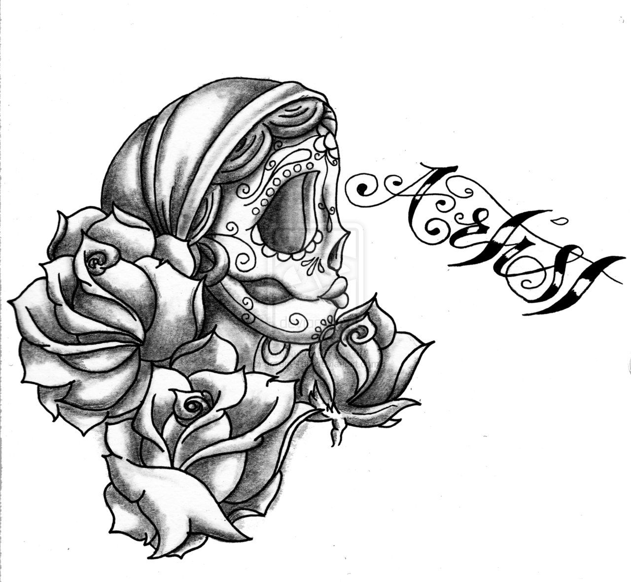 gypsy woman drawings | gypsy candy skull rose by ~green2106 on ... - Coloring Pages Roses Skulls