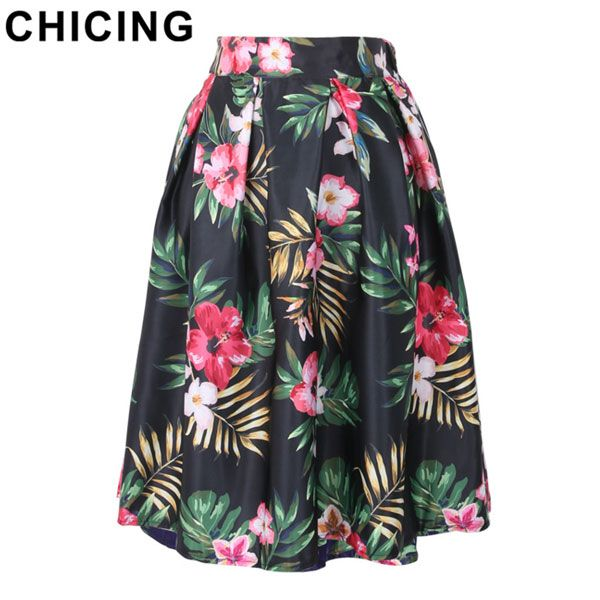 Tropical Flower Print Ball Gown Pleated Midi Skirt Only $19.99 ...