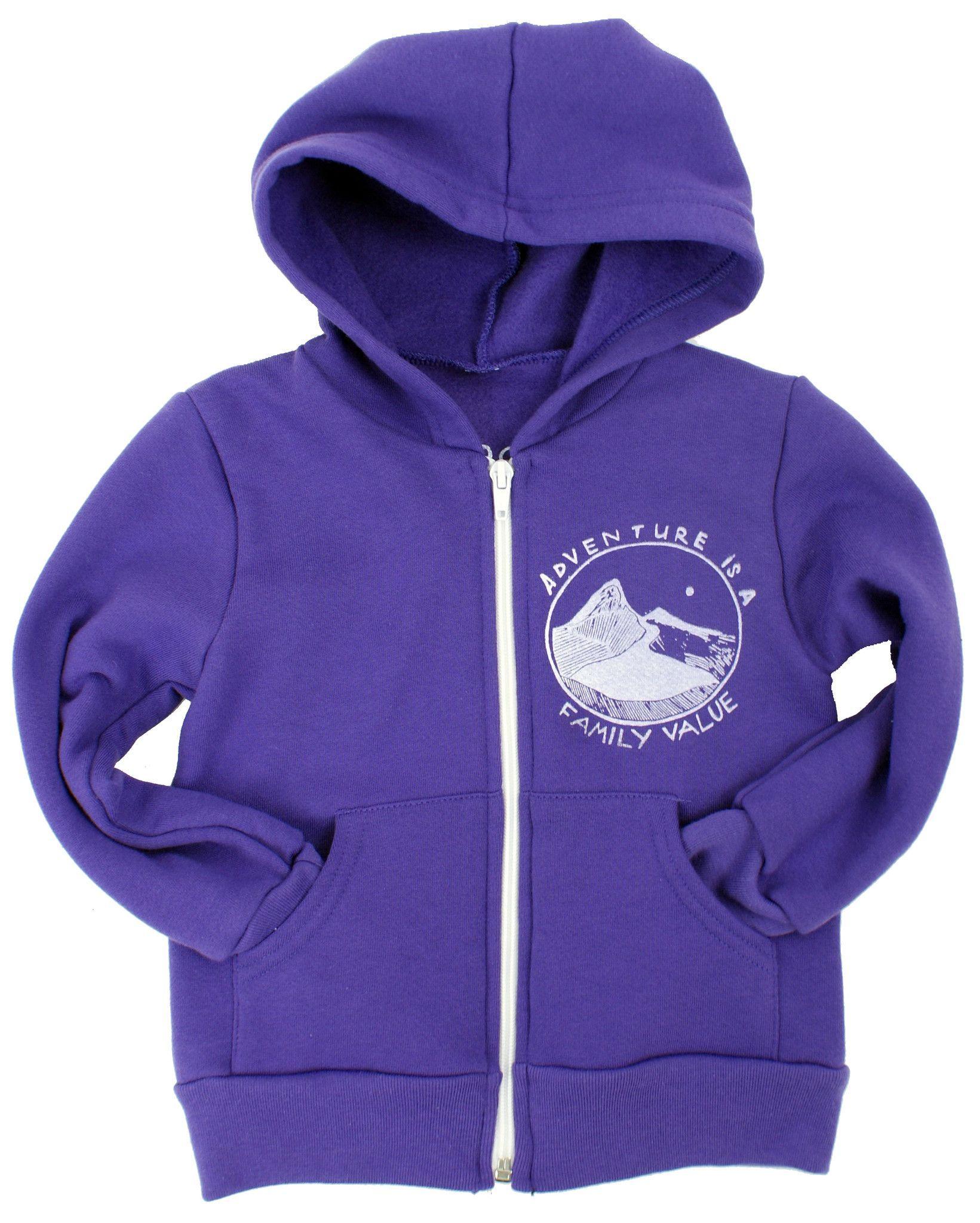 Adventure is a Family Value Zip Hoodie in Purple