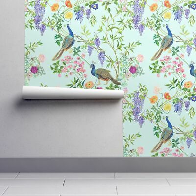To Install Simply Soak With Water And Smooth Onto Surface How To Install Spoonflower Smooth Wal Chinoiserie Wallpaper Peacock Wallpaper Spoonflower Wallpaper