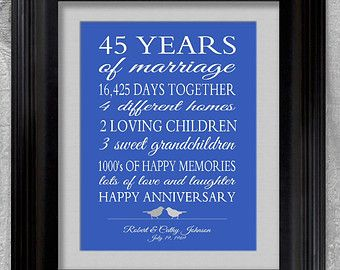 45 anniversary gifts by year