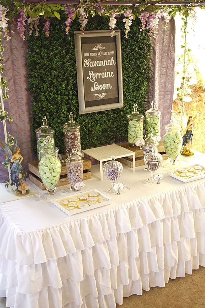 Woodland fairy baby naming party dessert table See more