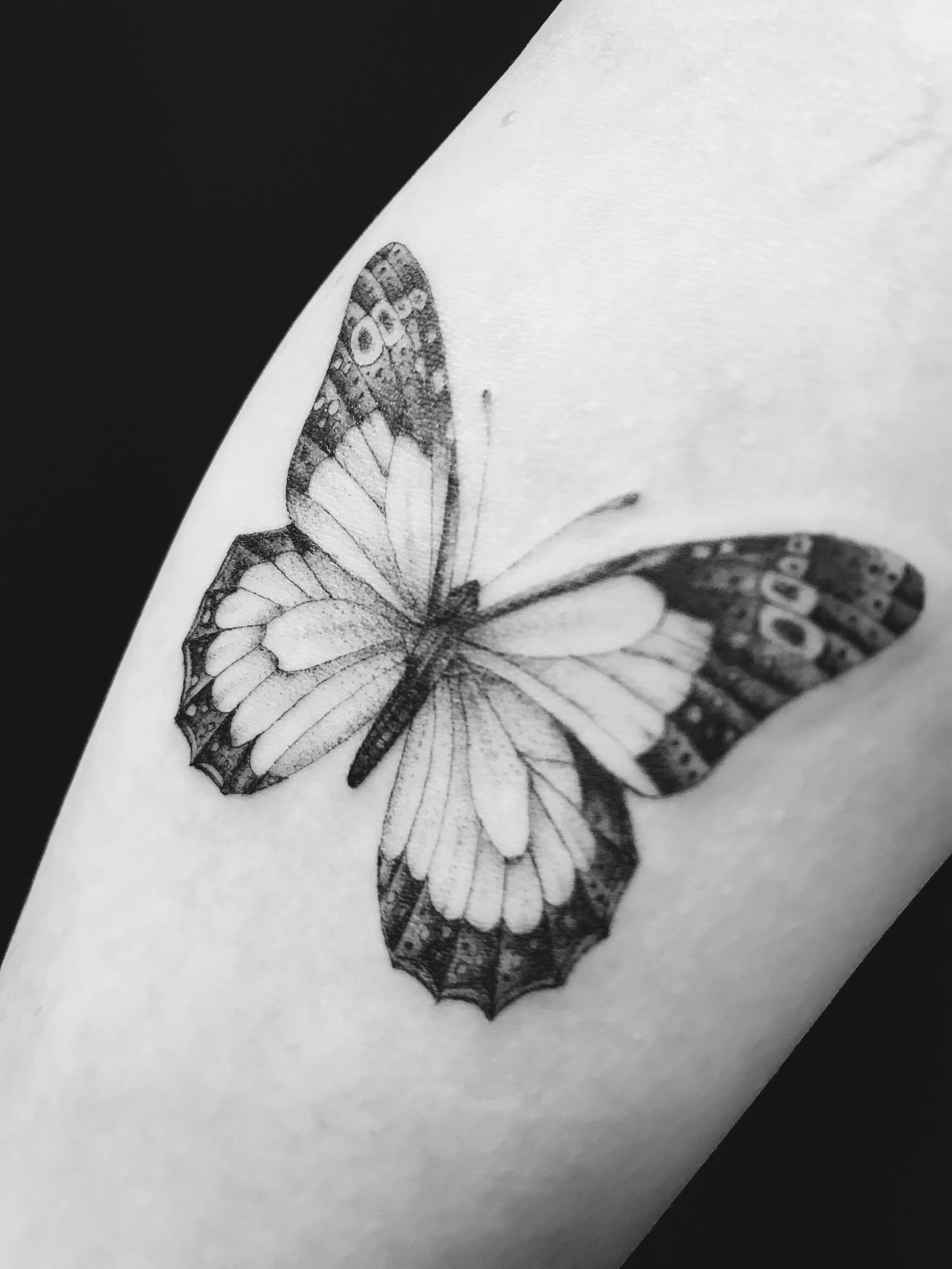 Black And White Butterfly Tattoo : black, white, butterfly, tattoo, Butterfly, Tattoo, Tattoos, Women,, White, Tattoo,, Black