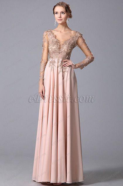da70b607a0e7 Empire Waist Long Lace Sleeves Gown With V Cut (00150701) | Clothes ...