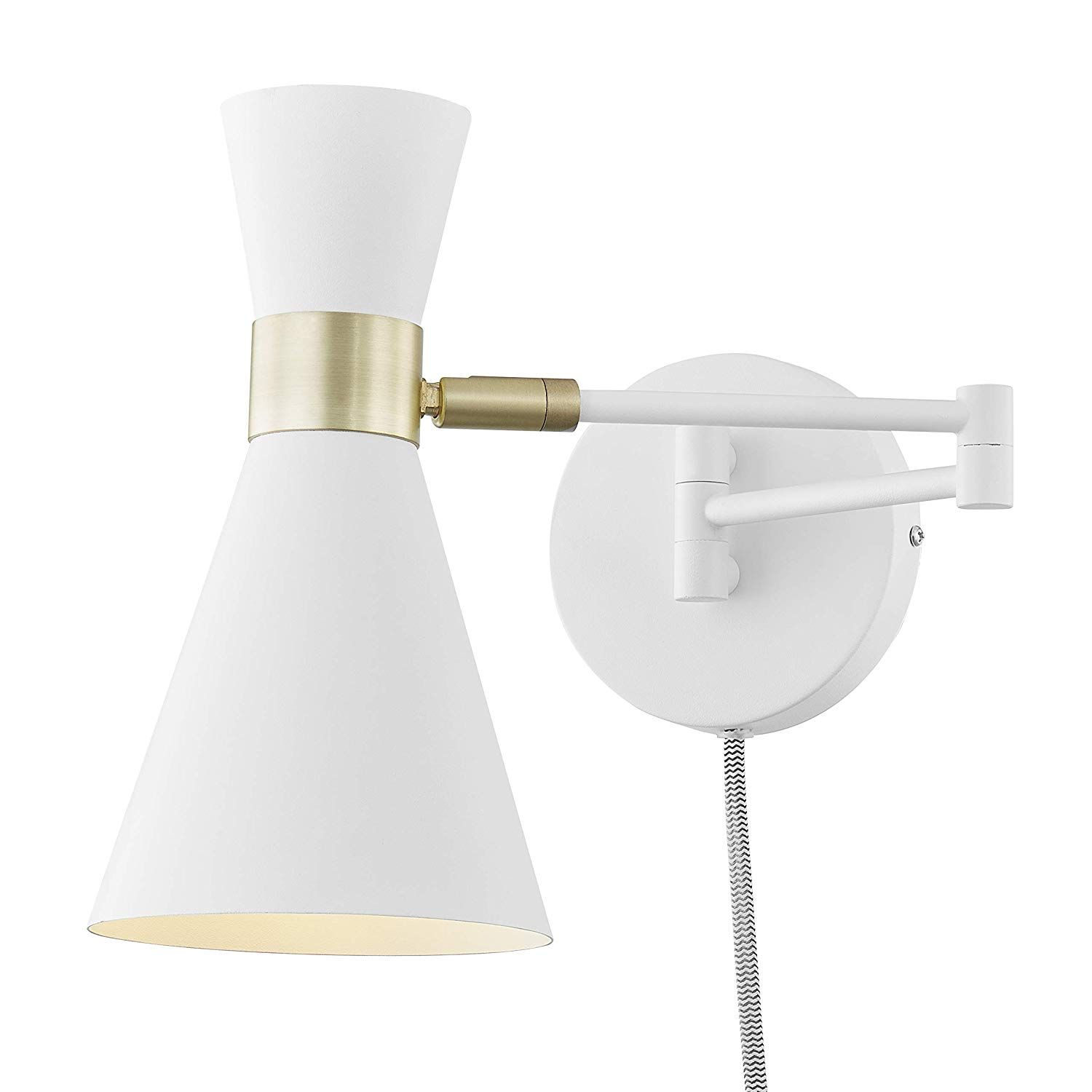 Light Society Beaker Plug In Wall Sconce In Matte White With Swivel Arm And Brass Details Modern Mid Century Retro St Plug In Wall Sconce Wall Sconces Sconces