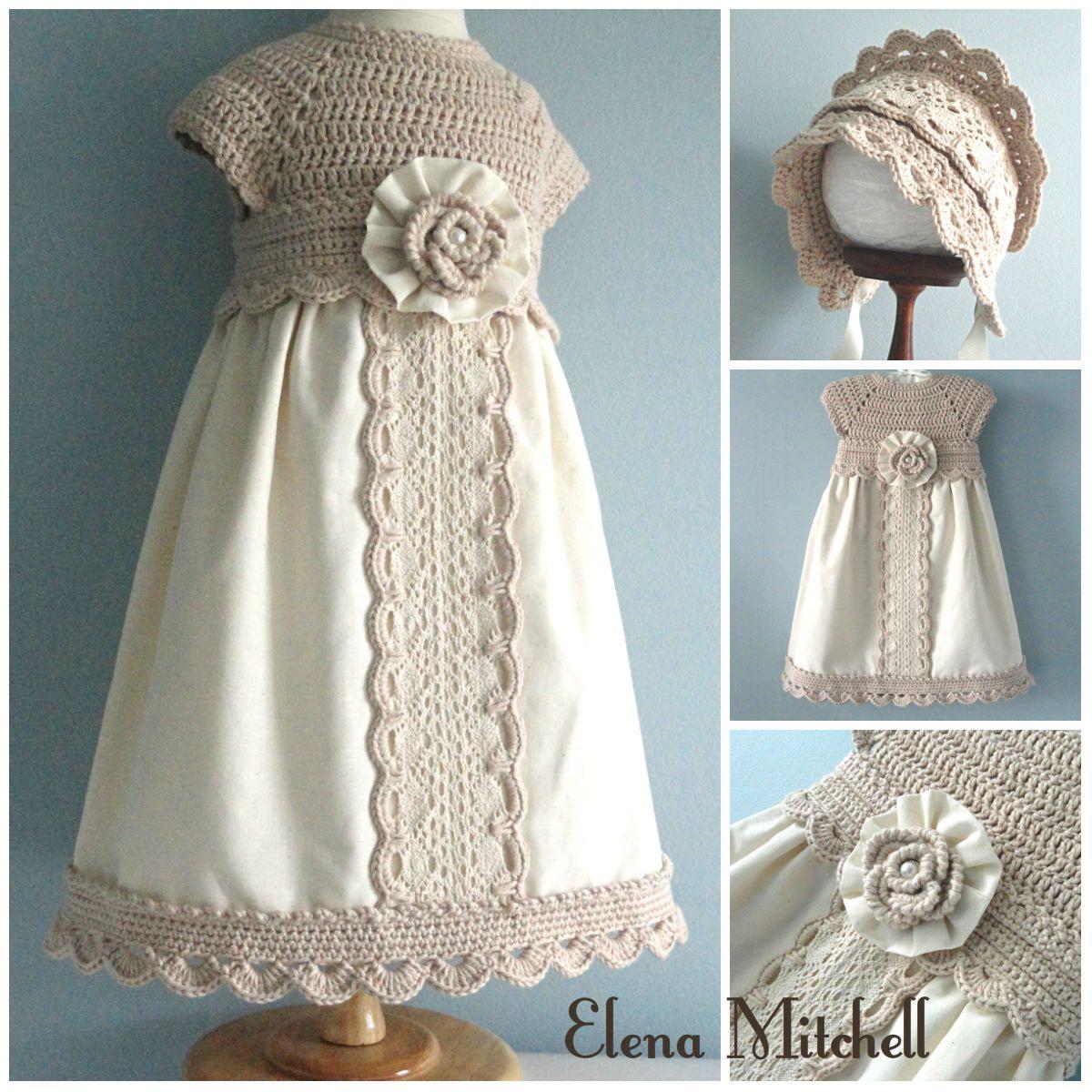 Christening Baby Dress Set Baby Bonnet Crochet Baptism Baby Dress Crochet Baby Bonnet Cotton Baby Dress #vestidosparabebédeganchillo
