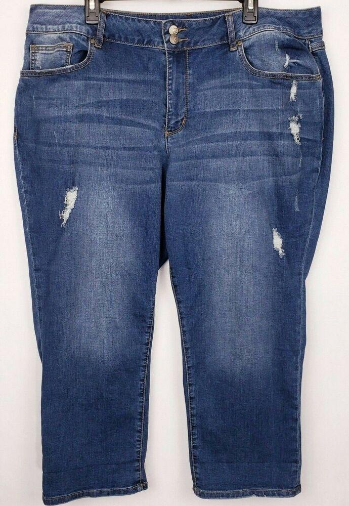 f8e5cc63421 CATO 1946 Denim Womens Plus Size 22W Blue Capri Jeans Distressed Classic  Stretch  Cato