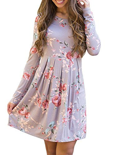 ZESICA Women's Long Sleeve Floral Print Pleated Casual Swing Tunic T-shirt Dresses, Small, Lavender