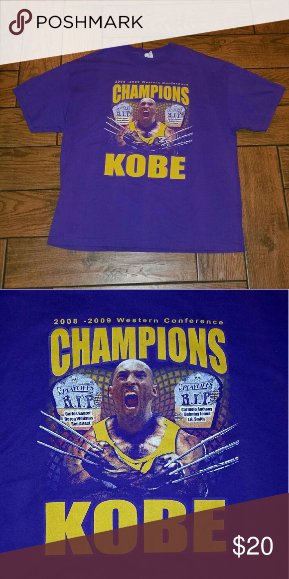 66614a04 Los Angeles Lakers WCF Kobe Bryant Shirt Los Angeles Lakers Kobe Bryant  2008-2009 Western Conference Finals Bootleg Shirt Size 2XL Shirts Tees -  Short ...