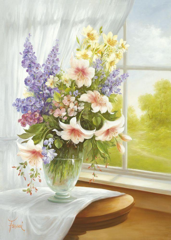 Открытки цветы на подоконнике, открытку для