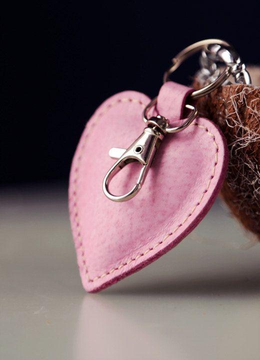 Pink Heart Keychain. cute keyfob womens keychain girls  9a6469880