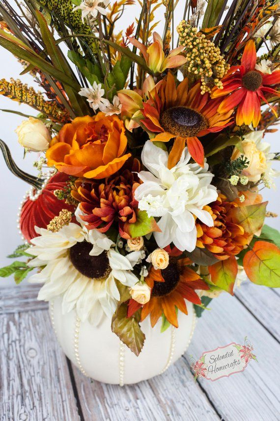 Pumpkin Centerpiece Fall Centerpiece Glam Cream Rust