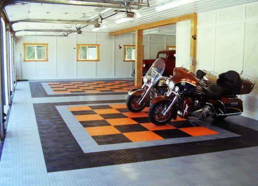 Racedeck Garage Flooring For Harley Davidsons Www Racedeck Com Garage Tile Garage Floor Harley Davidson