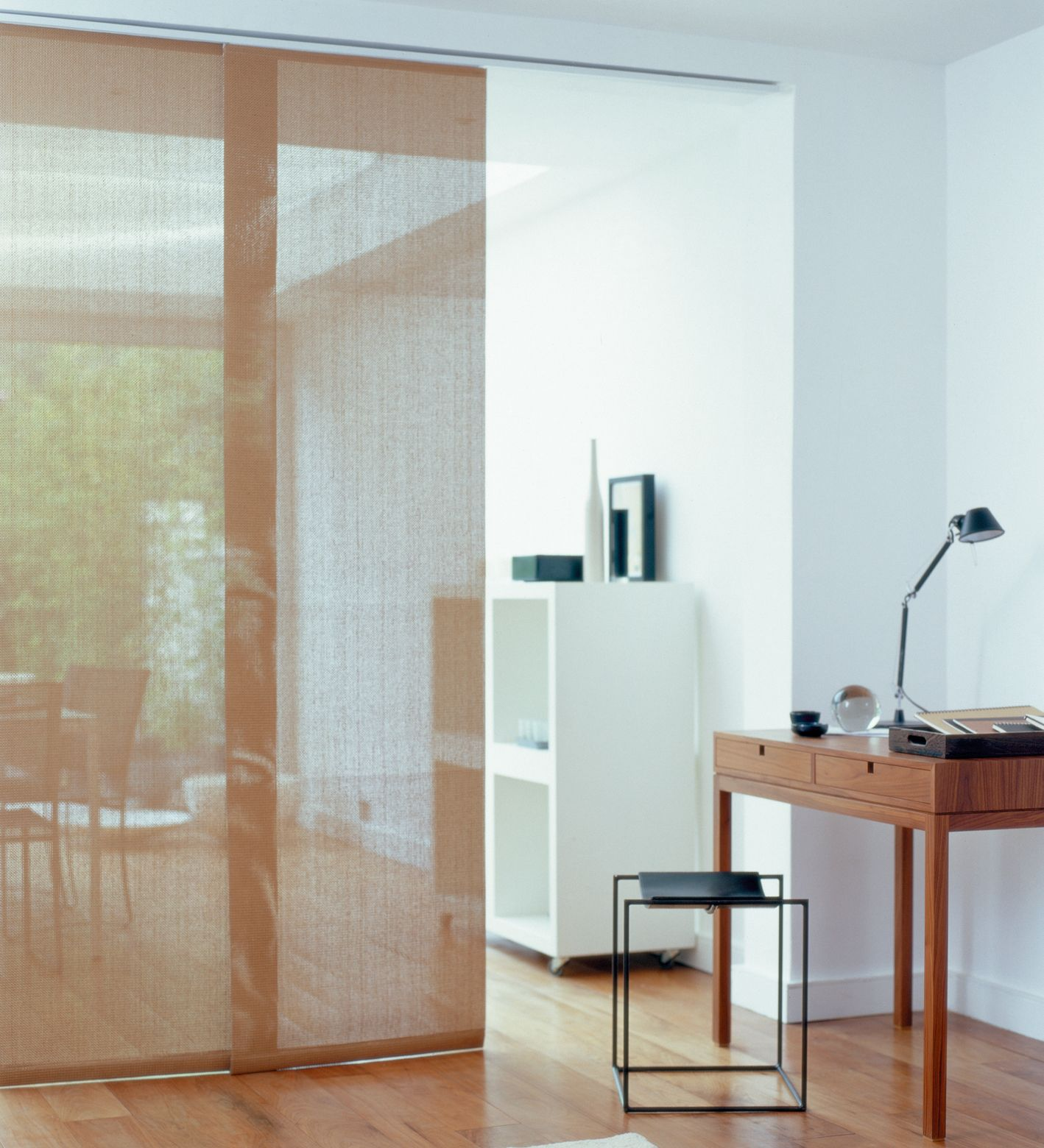 Sliding Panel Linen Blinds Are A Great Way To Add A Faux Partition
