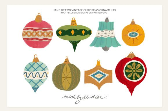 This listing includes: 8- Hand Drawn Vintage Christmas Ornament PNG files (colored as shown on a transparent background) *Ornaments are aprx. 1600 - 1300 pixels in width with variable