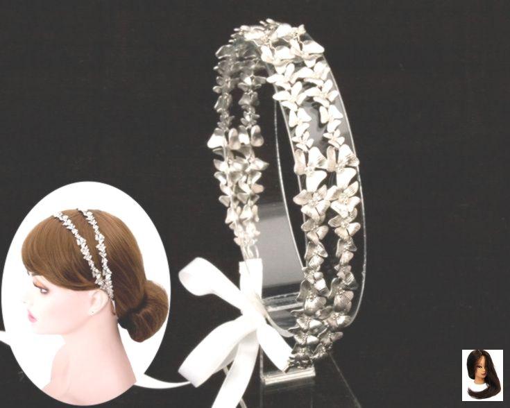 Stirnband Doppel Blume Krone versilbert Braut, Braut Hochzeit Band Krawatte Haar, Brautjungfe... #brautblume