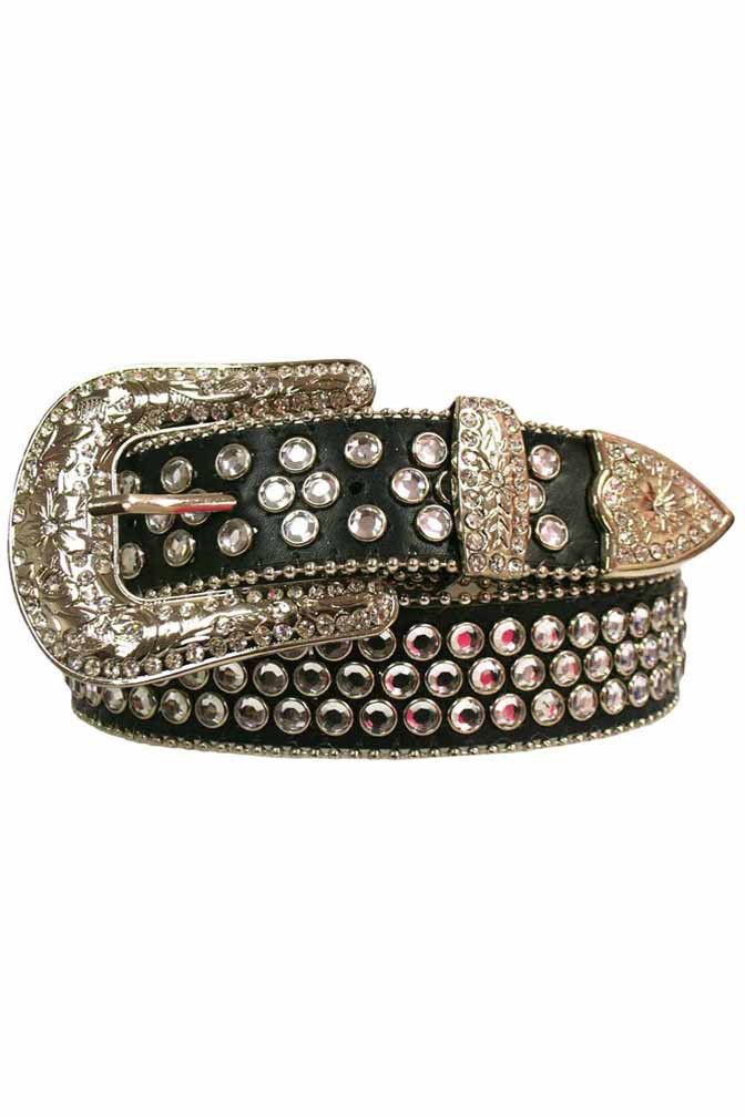 Rhinestone Studded Belt With Silver Buckle