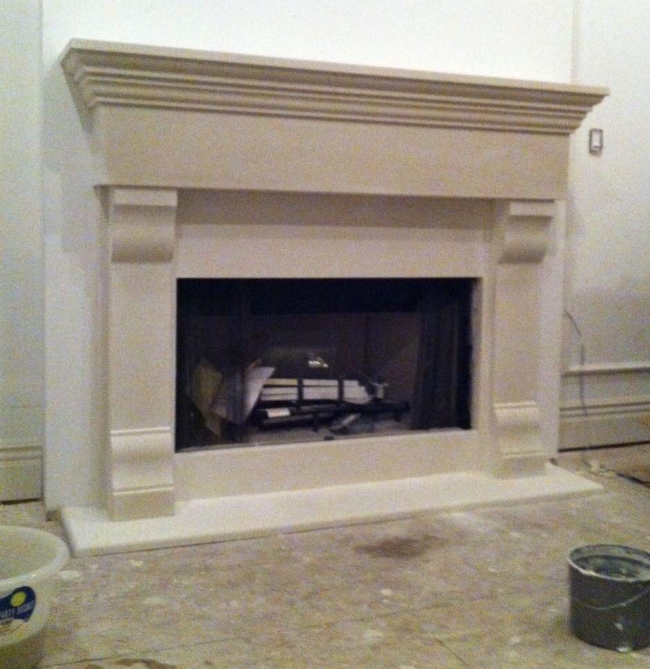 Cast stone fireplaces custom size mantels