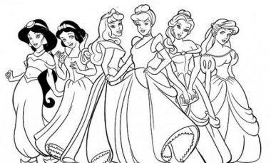 dibujos para colorear de princesas disney todas juntas | Libros