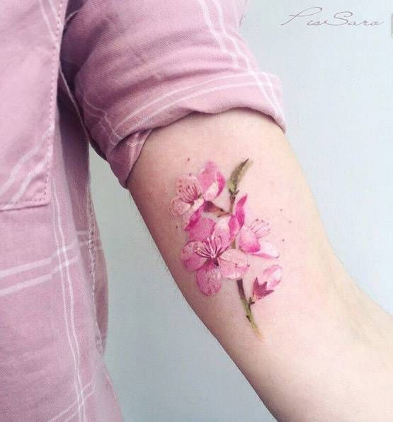 Cherry Blossom Branch Tattoo On The Left Inner Arm Blossom