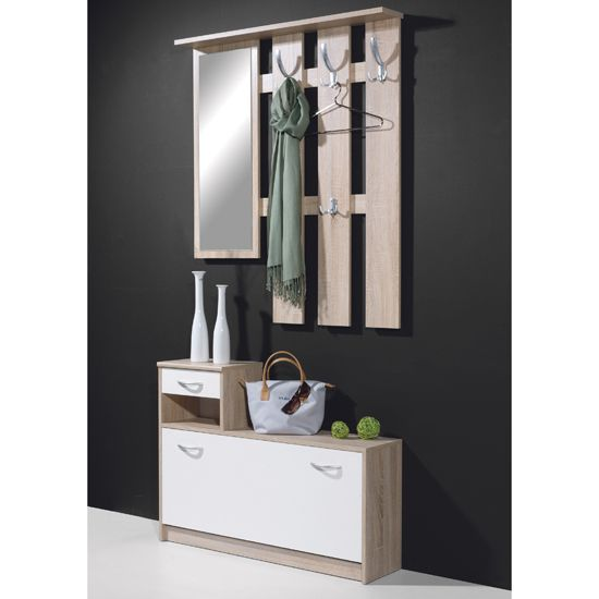 Hallway Stand Shoe Storage In Canadian Oak White 3663 157