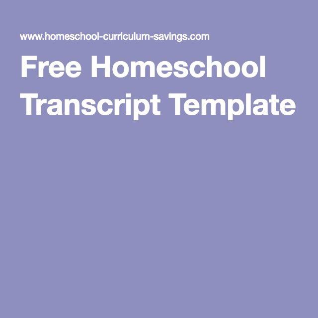 free homeschool transcript template