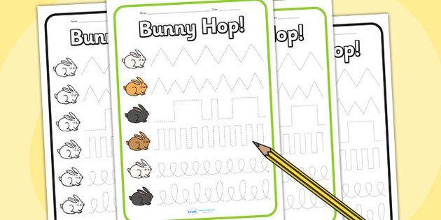 bunny hop pencil control worksheets school spring kids learning activities worksheets pencil. Black Bedroom Furniture Sets. Home Design Ideas