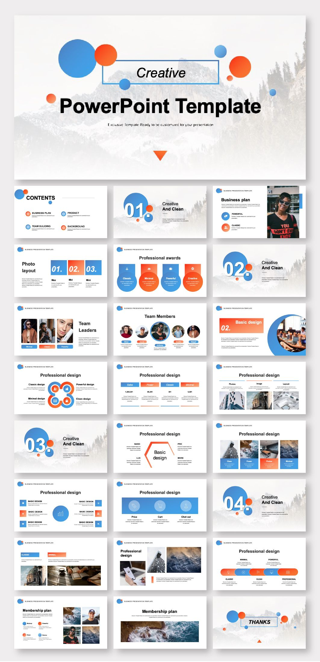 Blue & Red Business Plan PowerPoint Template