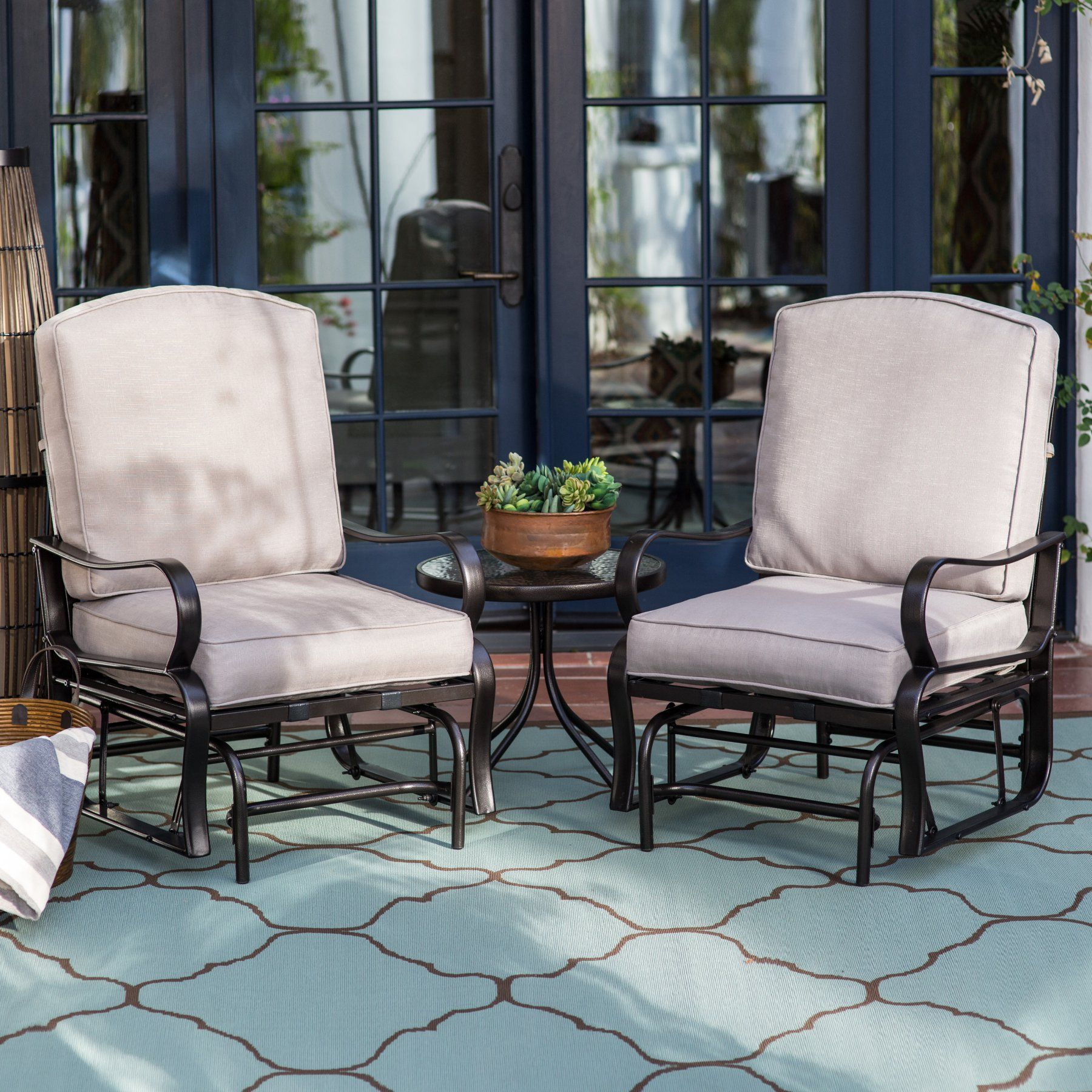 outdoor belham living cameron single glider set with free side
