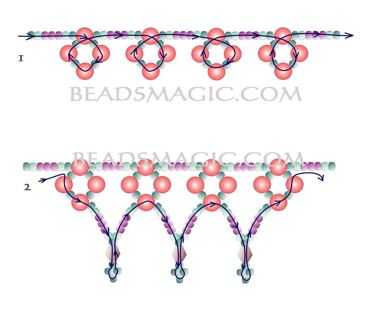 Free pattern for beautiful beaded necklace Flirt   Beads Magic