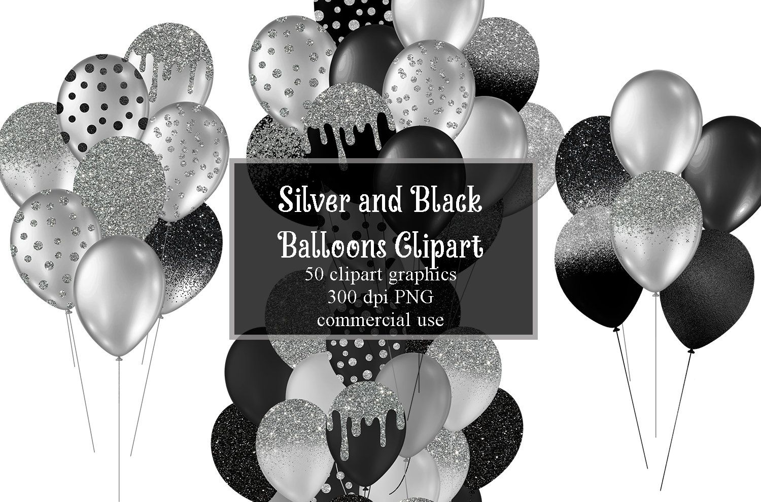 Black And Silver Balloons Clipart Glitter Balloon Png Digital Etsy In 2021 Balloon Clipart Silver Balloon Glitter Balloons