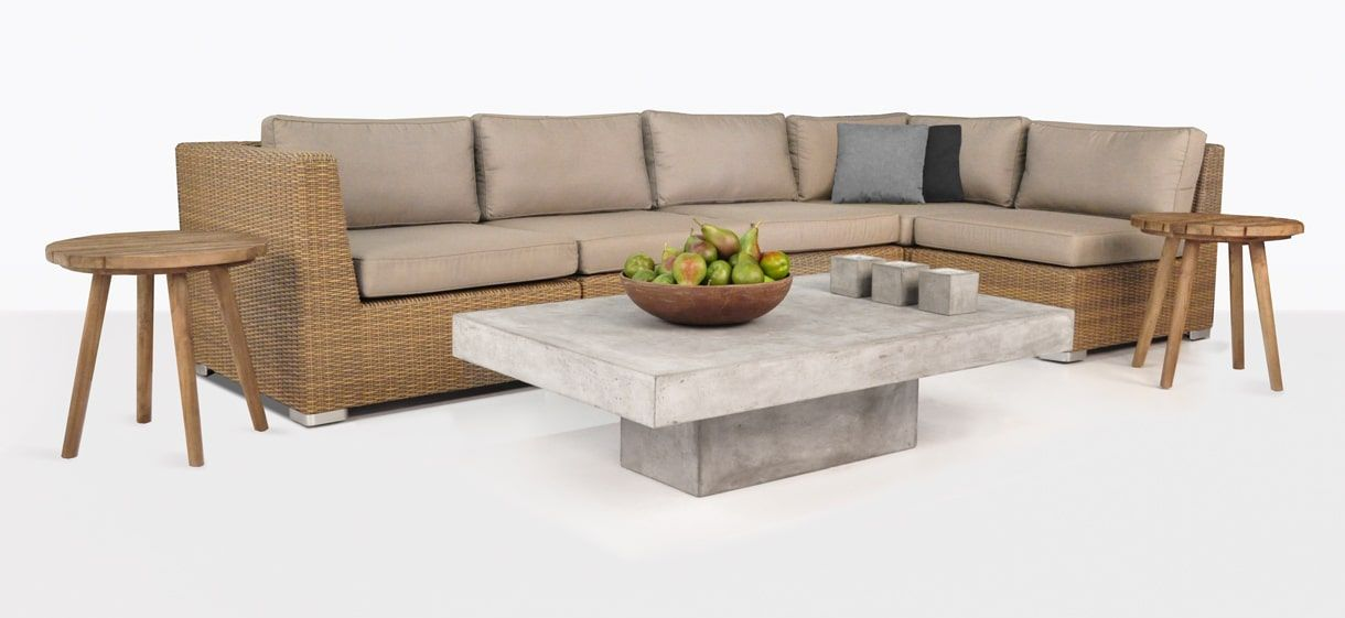 Lovely A beautiful neutral brown color Sand for this gorgeous contemporary outdoor wicker furniture collection by Teak Warehouse HD - Lovely cushion coffee table Style