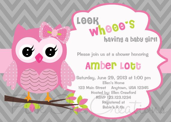 Owl Birthday Invitation Pink Gray Baby Shower O