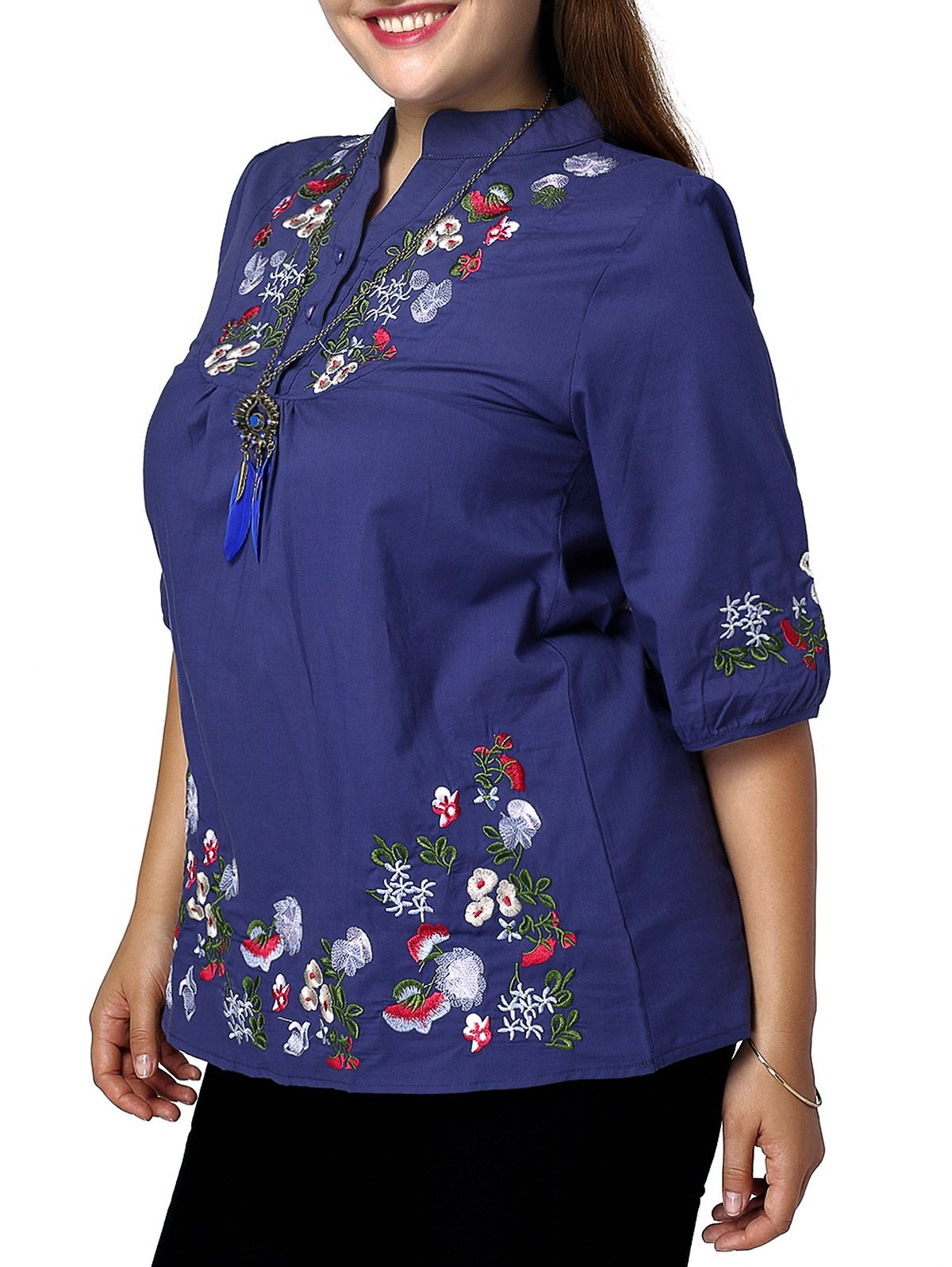NEXTMIA - Women\'s Plus Size Ethnic Stand Collar Floral Embroidered ...