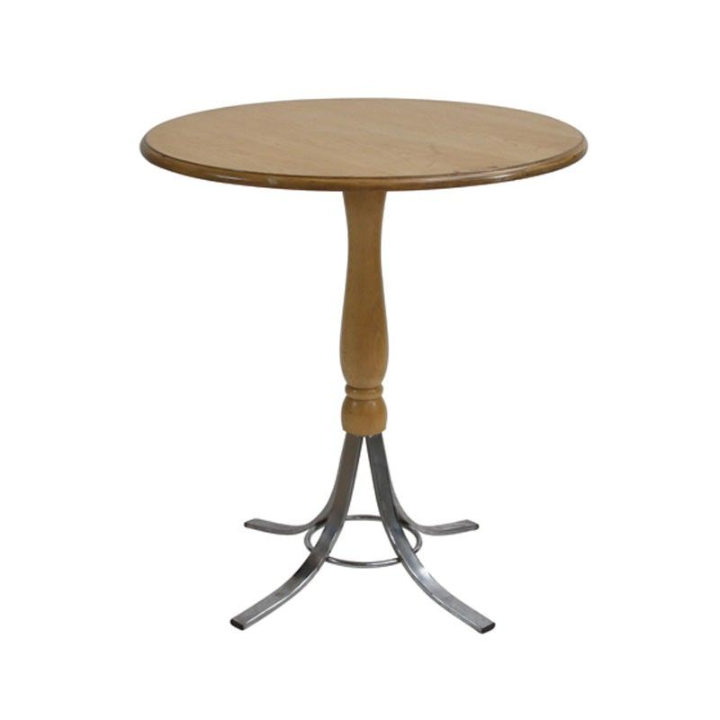 Rimini Table Natural - This Italian inspired round table is a popular choice for dining or bistro areas with its elegant design and blend of curved wood and metal. It comfortably accomodates 3/4 people. It offers a natural wooden top and curved stem standing sturdy on four curved metal legs.