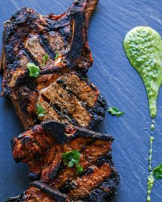 SPICED PORK CHOPS with CHIMICHURRI VERDE [Argentina] [macksupper] [grilllovers] [project inspiration, image only] [plating, service, presentation]