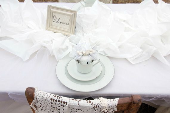 White Plastic Table Cloth/ruffled Runners