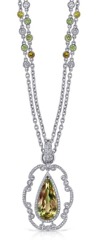 Erica Courtney Raindrop Pendant with Zultanite and Diamonds in Platinum