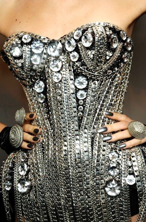 Silver metal & bling corset