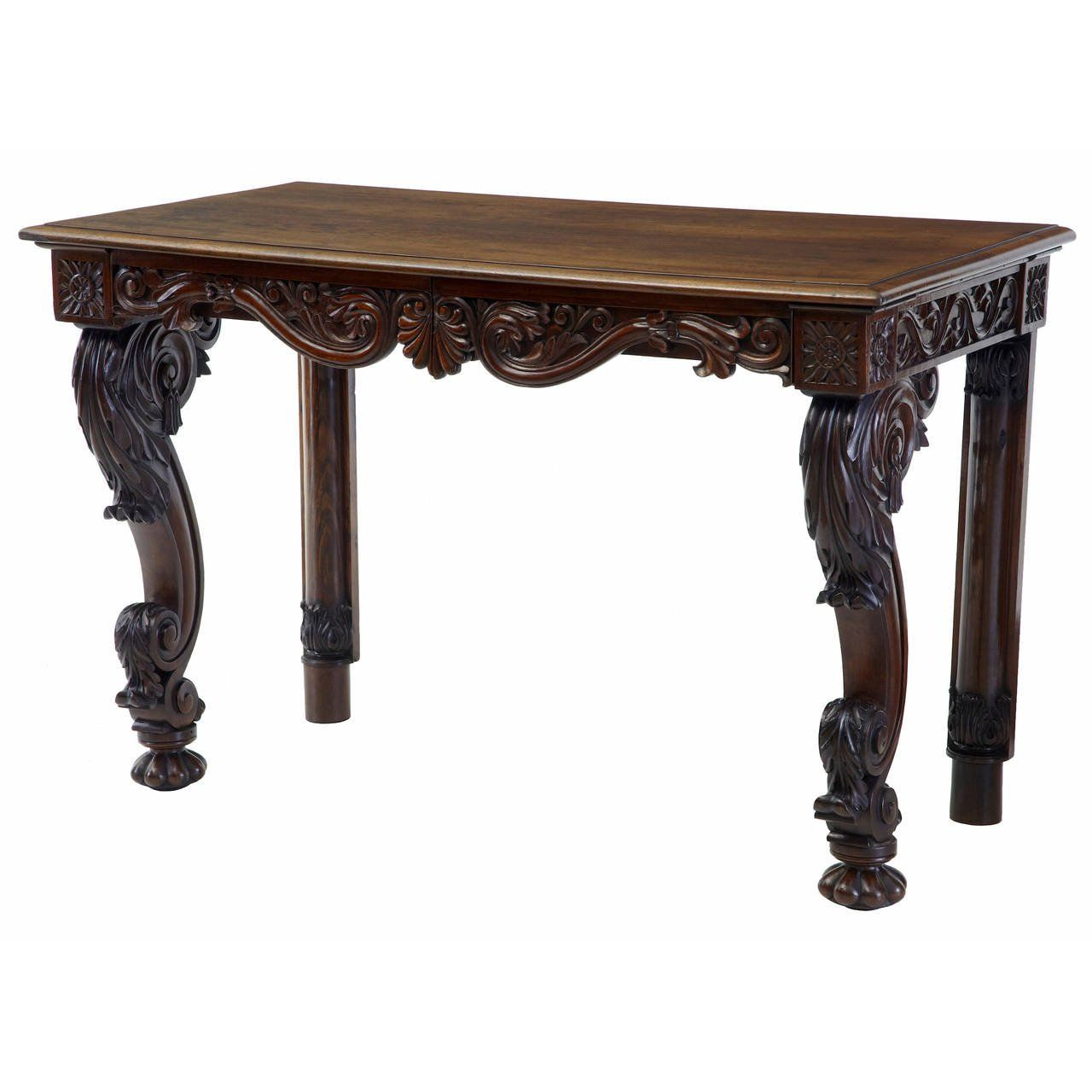 19th Century Anglo Indian Carved Rosewood Console Table