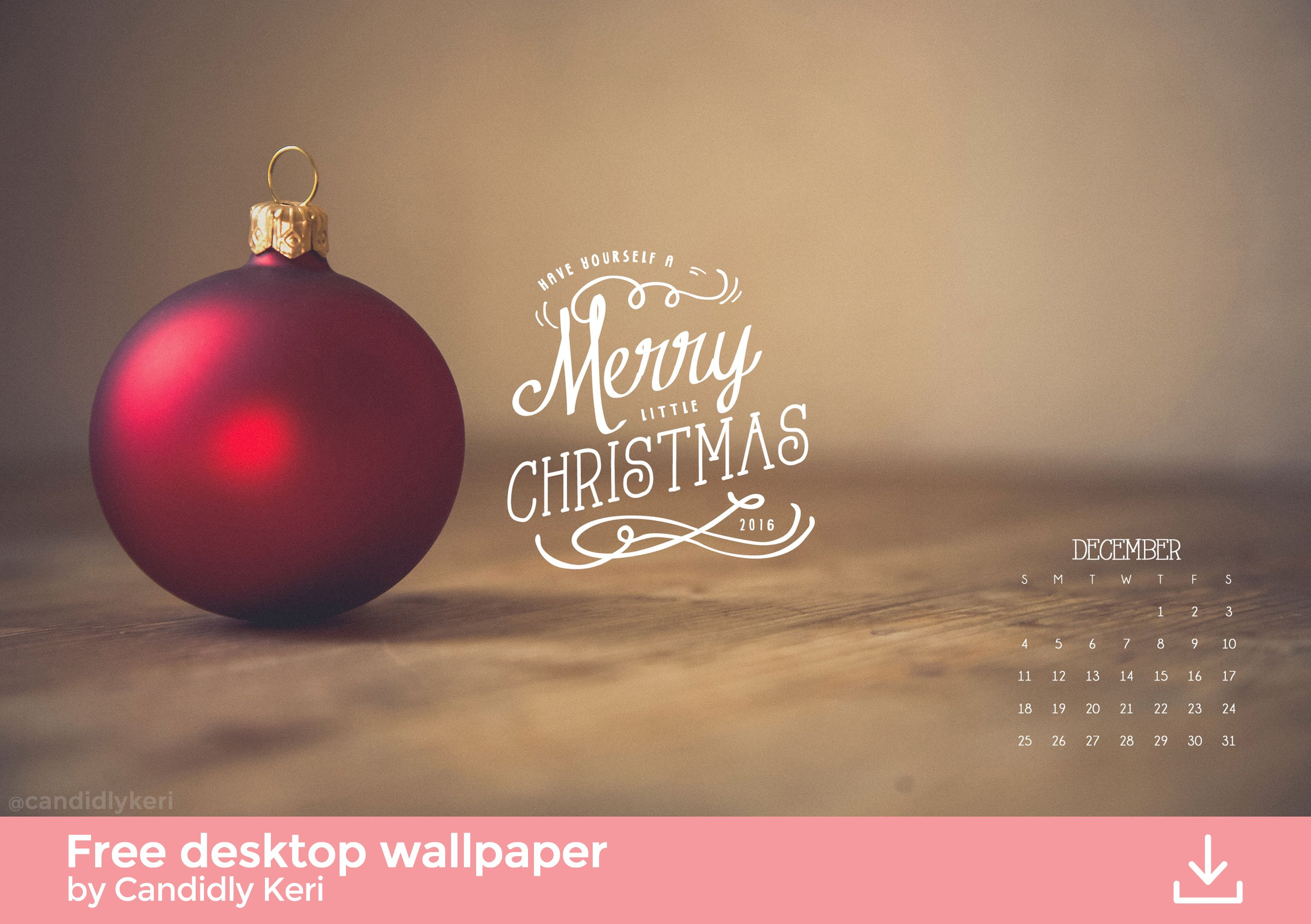 Christmas red ornament December calendar 2016 wallpaper you can