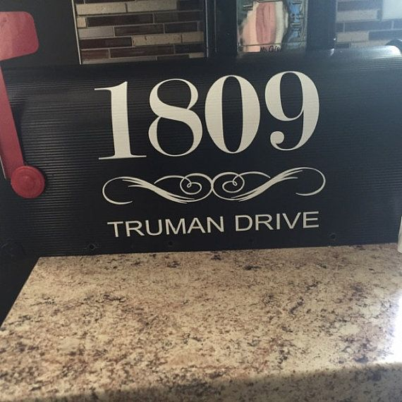 Custom mailbox vinyl number decals with street names receive 1 decal shown in