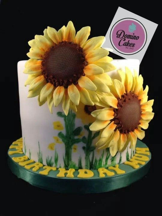 Large Sunflower Birthday Cake Pastel Pinterest Sunflower