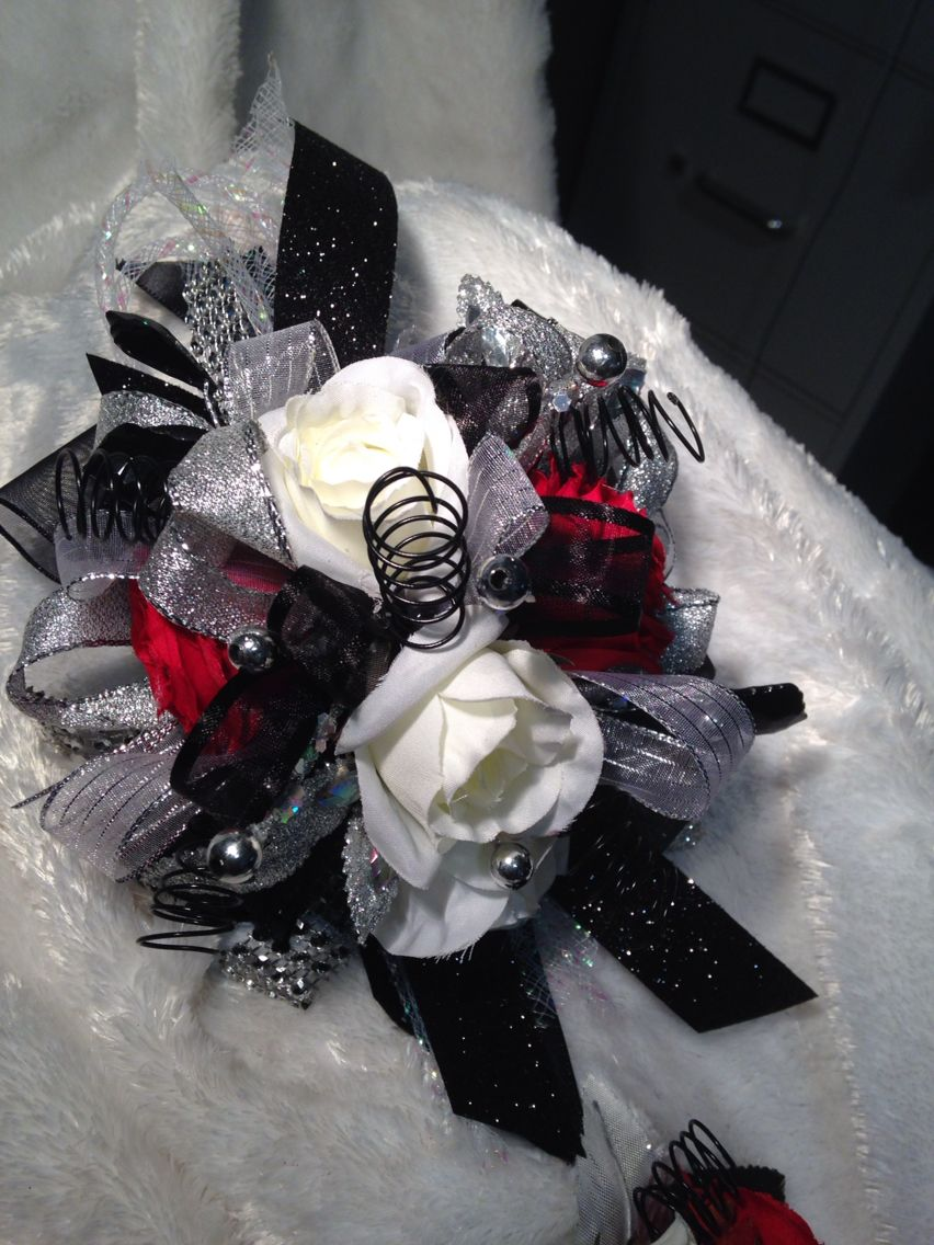 Black White And Red Prom Corsage Flowerscorsagesboutonnieres