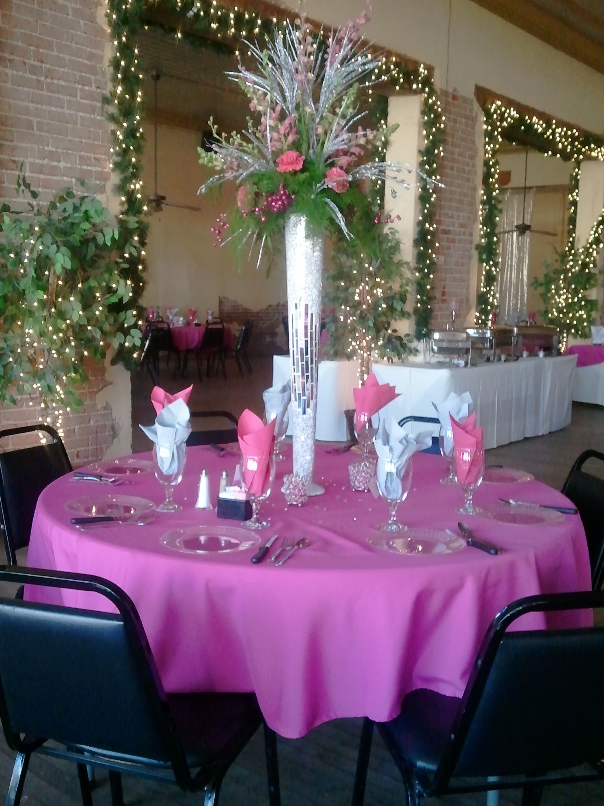 Hot Pink And Chic White Silver Wedding The Tall Mirrored Vase Adds Drama Elegance Blair Banquet Room Oklahoma