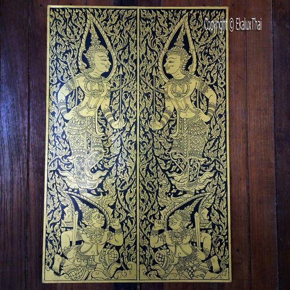 door guardian thai god canvas painting acyric by EkaluxThai & door guardian thai god canvas painting acyric by EkaluxThai | Thai ...