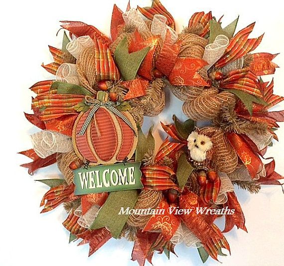 deco mesh fall wreath autumn mesh wreath by mountanviewwreaths
