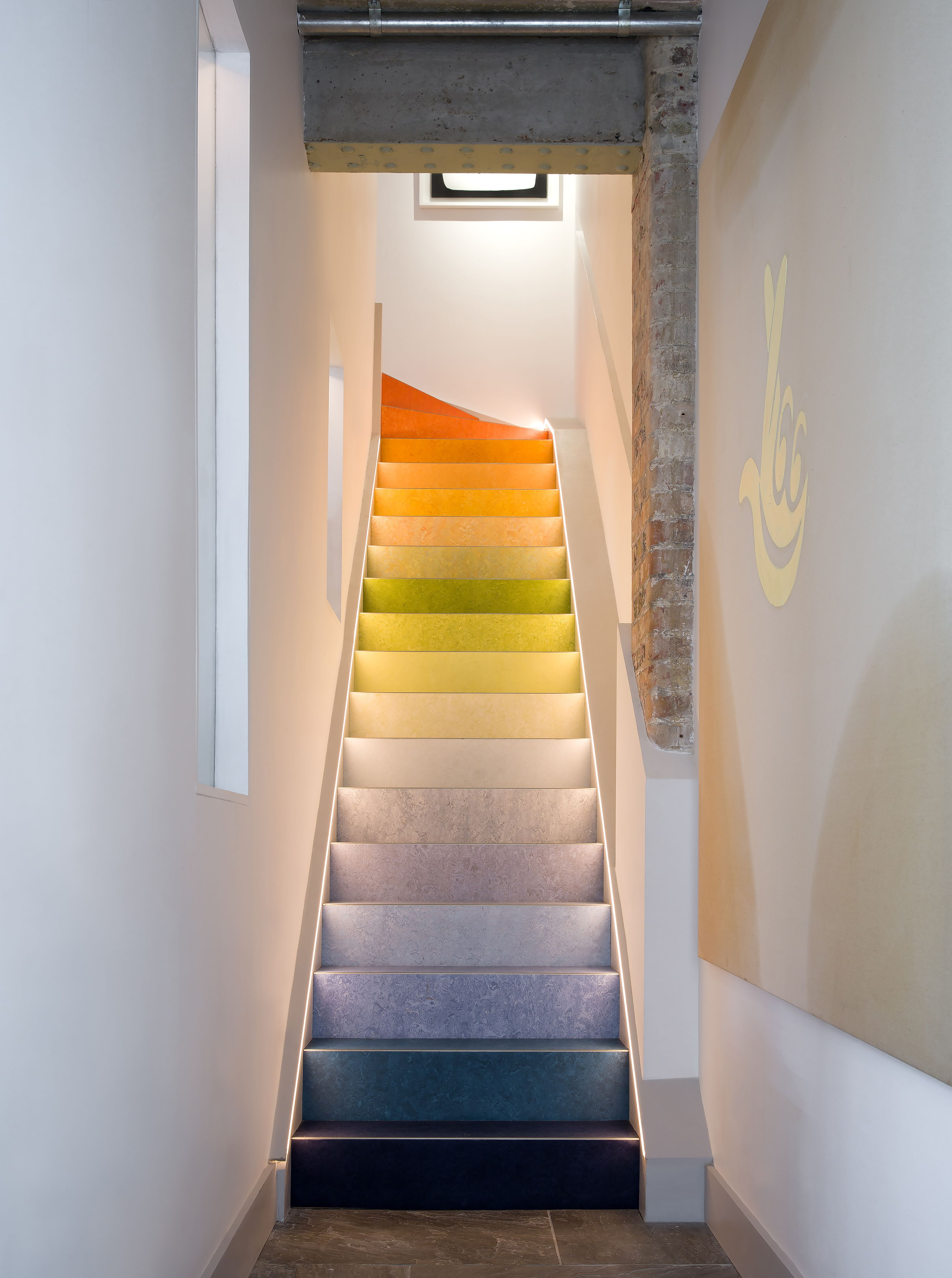 Colour Gradient Linoleum Stairs Industrial Mews House By Cooley U0026 Rose