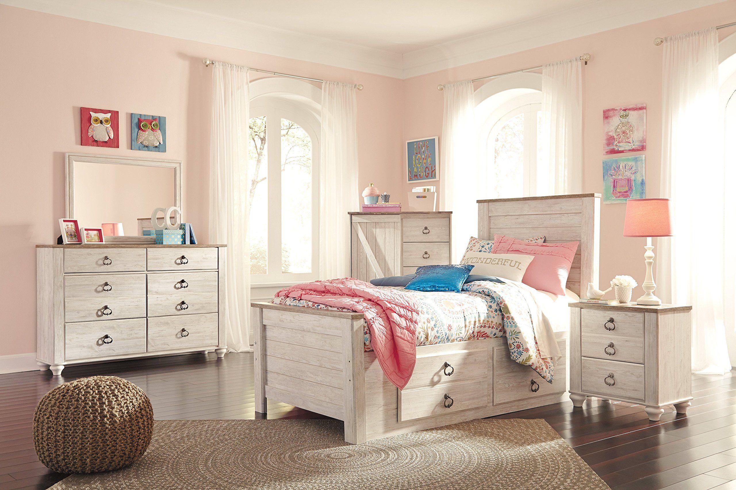 Ashley Willowton 4PC Twin Storage Bedroom Set In White