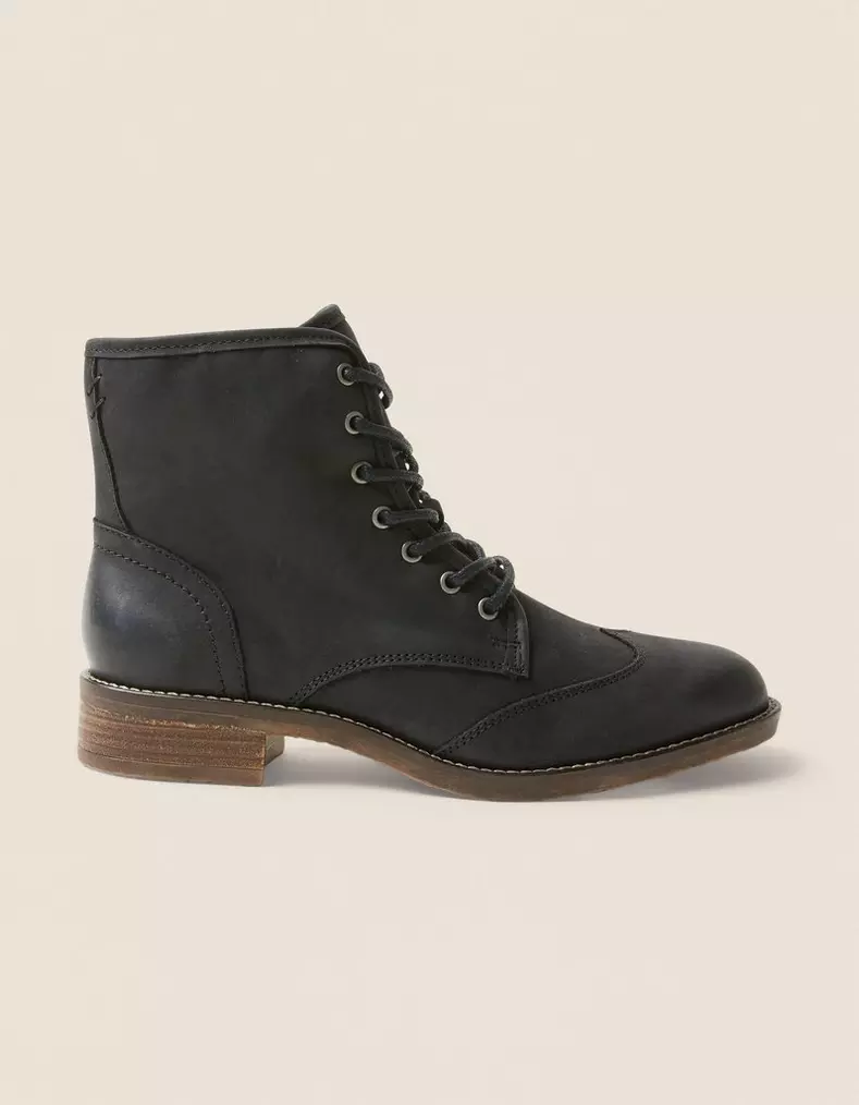 Black leather ankle boots, Womens boots